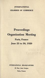 Cover of: Proceedings, organization meeting, Paris, France, June 23-30, 1920