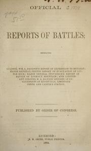 Cover of: Official reports of battles | Confederate States of America. War Dept.