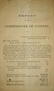 Cover of: Report of the commissioner of patents. | Confederate States of America. Patent Office