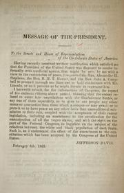 Cover of: Message of the President ... | Confederate States of America. President