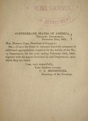 Cover of: Estimates of additional appropriations required for the service of the Navy department, for the year ending February 18th, 1862