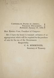 Cover of: Estimates of an appropriation which will be required for the purchase of coin for the use of the government