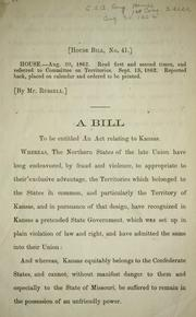Cover of: A bill to be entitled An act relating to Kansas