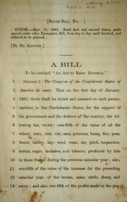 "Cover of: A bill to be entitled: ""An act to raise revenue."""