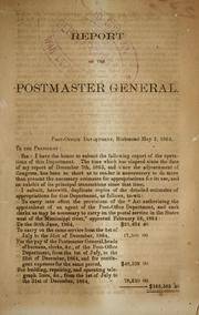 Cover of: Report of the postmaster general, Post-office Department, Richmond May 2, 1864. | Confederate States of America. Post-Office Dept.