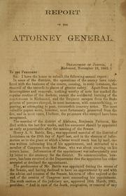 Cover of: Report of the Attorney General ... | Confederate States of America. Dept. of Justice