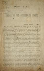 Cover of: Memorial to the Congress of the Confederate States