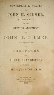 Cover of: Confederate States vs. John H. Gilmer | Gilmer, John H.