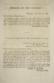 Communication from the Secretary of War by Confederate States of America. War Dept.