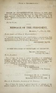 Cover of: Communication of Secretary of Treasury...February 8th, 1865, [transmitting estimate for an additional appropriation required by the Navy Department