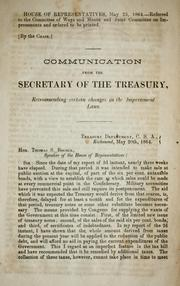 Cover of: Communication from the Secretary of the Treasury recommending certain changes in the impressment laws