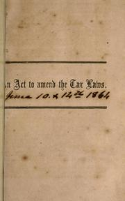 Cover of: An act to amend the laws relating to the tax in kind