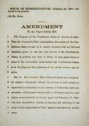 Cover of: Amendment to the negro soldier bill