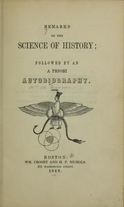 Cover of: Remarks on the science of history ... | Greene, William Batchelder