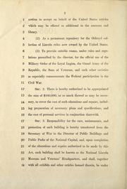 Cover of: A bill to establish a national Lincoln museum and veterans' headquarters in the building known as Ford's Theater