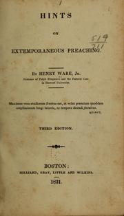 Cover of: Hints on extemporaneous preaching