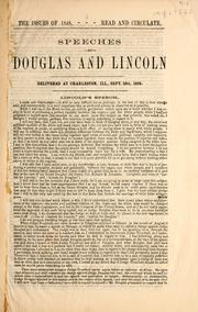 Cover of: Speeches of Douglas and Lincoln