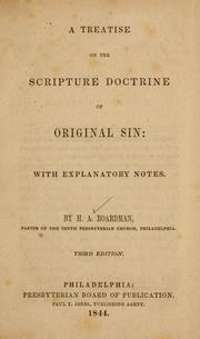 Cover of: A treatise on the Scripture doctrine of original sin