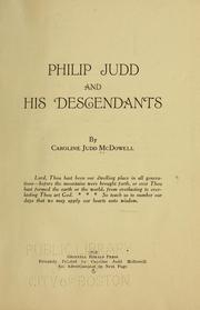 Cover of: Philip Judd and his descendants | Caroline Judd McDowell