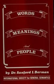 Cover of: Words, meanings, and people | Sanford I. Berman