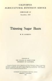 Cover of: Thinning sugar beets
