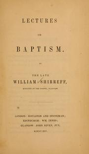 Cover of: Lectures on baptism | William Shirreff