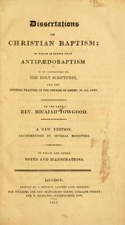 Cover of: Dissertations on Christian baptism