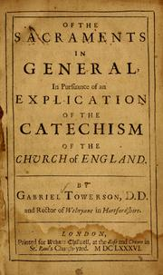 Of the sacraments in general by Gabriel Towerson