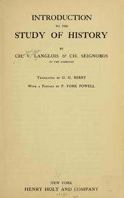 Cover of: Introduction to the study of history
