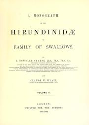 Cover of: A monograph of the Hirundinidae