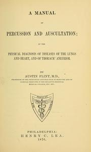 Cover of: A manual of percussion and auscultation