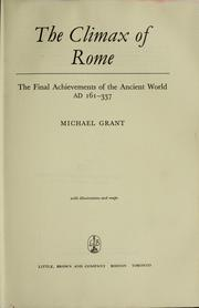 Cover of: The climax of Rome