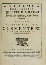 Cover of: Catalogo degli ordini equestri, e militari