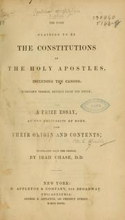 Cover of: The work claiming to be the constitutions of the holy apostles, including the canons
