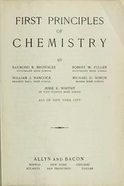 Cover of: First principles of chemistry