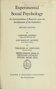 Cover of: Experimental social psychology | Gardner Murphy