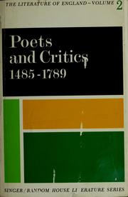 Cover of: Poets and critics, 1485-1789