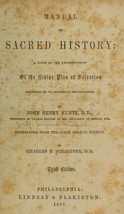 Cover of: Manual of sacred history