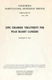 Cover of: Zinc chloride treatment for pear blight cankers