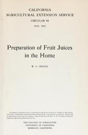 Cover of: Preparation of fruit juices in the home