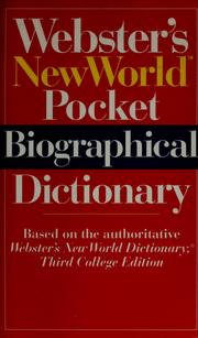 Cover of: Webster's New World pocket biographical dictionary | Donald Stewart, Laura Borovac