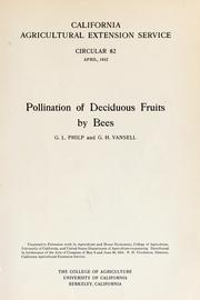 Cover of: Pollination of deciduous fruits by bees | Guy L. Philp