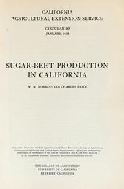 Cover of: Sugar beet production in California