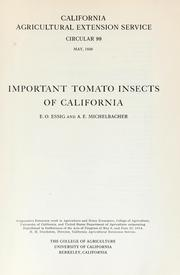 Cover of: Important tomato insects of California