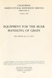 Cover of: Equipment for the bulk handling of grain