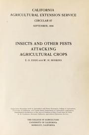 Cover of: Insects and other pests attacking agricultural crops