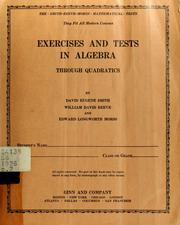 Cover of: Exercises and tests in intermediate algebra