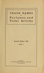 Cover of: Trade names of perfumes and toilet articles | Manufacturing Perfumers