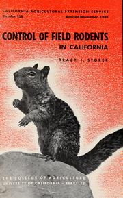 Cover of: Control of field rodents in California