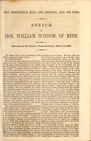 Cover of: Speech of Hon. William Windom, of Minn